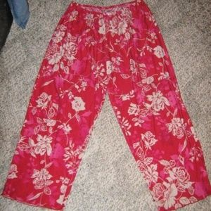 Red w/ Pink White Floral Buttery Soft Pajama Pants